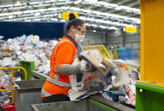 Pictured, recycling being sorted at the EnviroWaste operated Materials Recovery Facility in New Plymouth